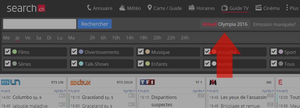 Les Jeux olympiques sur tv.search.ch